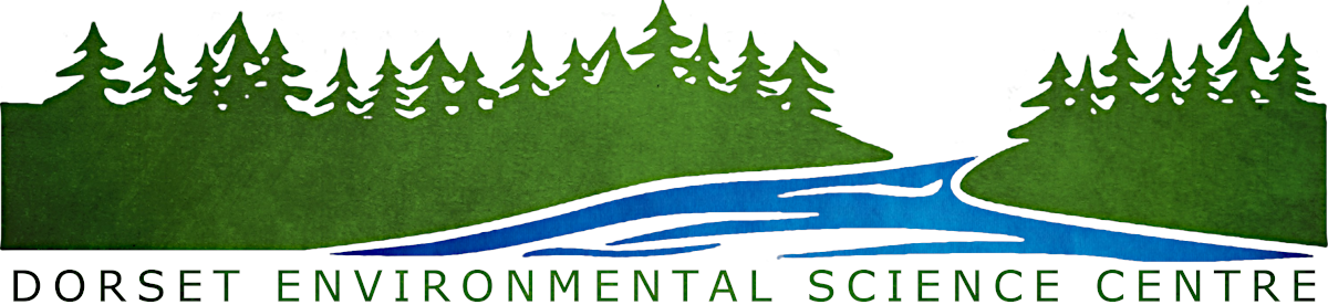 Dorset Environmental Science Center Logo, trees over water
